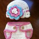 Crochet Pink Hat and Diaper..
