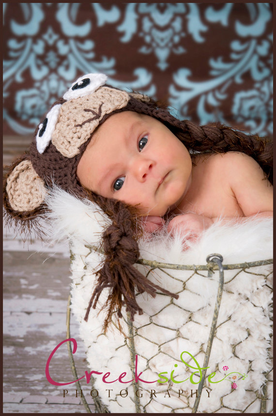 Crochet Monkey Hat Newborn to Toddler sizing Photography prop