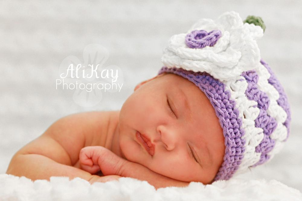 Purple Flower Hat Newborn size only Photography Prop