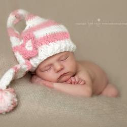 Crochet Newborn Pink Stripe Long Tail Pixie Elf Hat Photography Prop