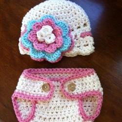 Crochet Pink Hat and Diaper Cover Set Newborn Photography prop