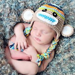 Crochet Boys Stripe Sock Monkey Hat Newborn to Toddler sizing Photography prop