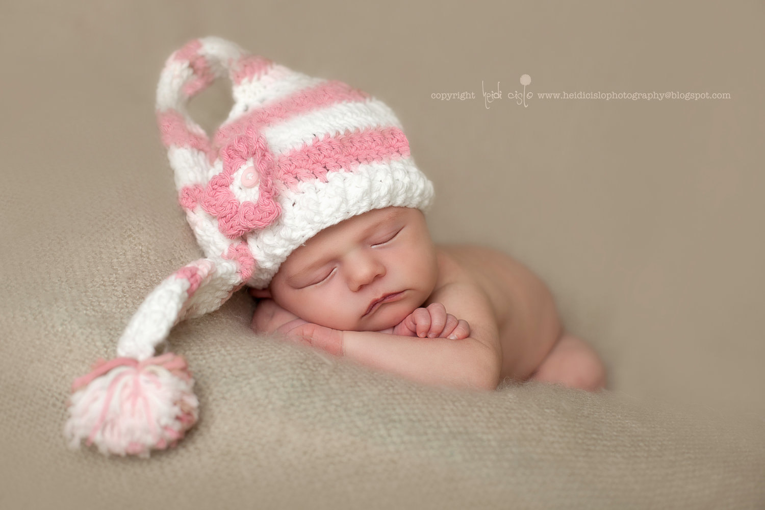Crochet Newborn Pink Stripe Long Tail Pixie Elf Hat ...
