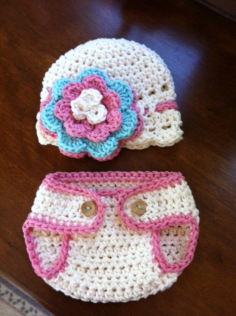 Crochet Pink Hat And Diaper Cover Set Newborn Photography Prop on ...